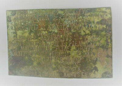 Ancient Roman Military Diploma Plaque Important Inscriptions 200-300Ad