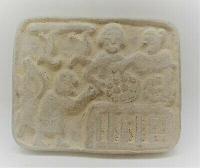 Ancient Near Eastern Stone Carved Plaque Depicting Scene Of Servant