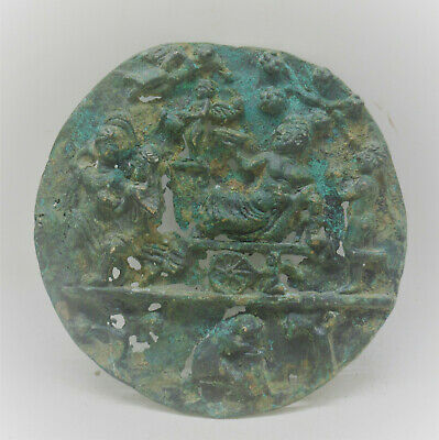 Graeco Roman Bronze Plaque Depicting Scene Servant And Ruler And Cupid Rare