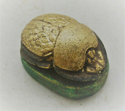 Circa 500Bce Ancient Egyptian Gold Gilded Stone Scarab Bead Seal Beautiful