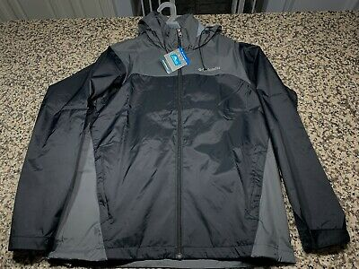 NEW Columbia Sports Men's Glennaker Lake Rain Jacket Waterproof Black Grey Small