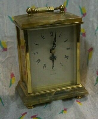 antique Dominion carriage clock brass working Junghans Germany movement,quartz