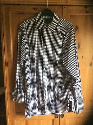 Gent's Jeff Banks Blue & White Checked Dress Shirt French Cuffs Size 15.5