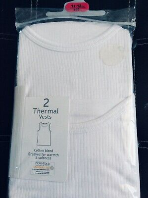 Brand new pack of 2 boys thermal vests, age 11-12 years
