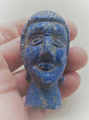 Ancient Sasanian Lapis Lazuli Carved Statue Fragment Male Head