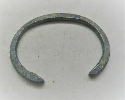 Circa 900-1000Ad Ancient Viking Bronze Bracelet With Serpent Head Terminals