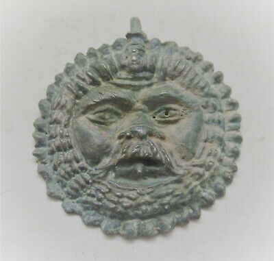 Ancient Roman Bronze Legionary Pendant In The Form Of A Lion Face 300Ad Wearable