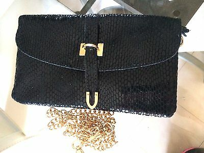 Handbag Pouch Evening Marriage Black with Chain Gold