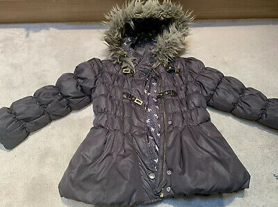 Next Girls Grey Warm Padded Coat With Faux Fur Trimmed Hood Age 7-8 Yrs