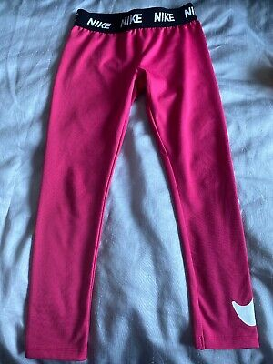 Girl's Pink Nike Jogging Bottoms / Leggings (6-7 Years)