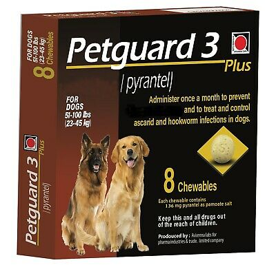 Pguard Chewable Dewormer For Large dogs 50-100 lbs exp 01-2023