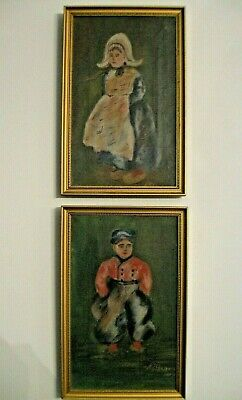 VINTAGE OIL PAINTINGS - DUTCH MAN & WOMAN  - Signed  - LOT OF 2
