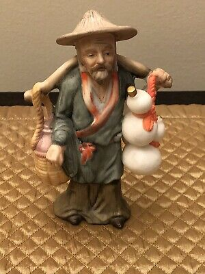 Vintage Asian Man Carrying Water Buckets Porcelain Figurine - 6""