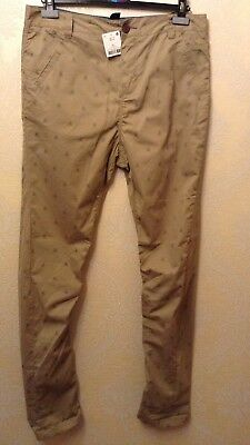 BNWT ⭐️Next ⭐️Age 16 Boys Girls Skinny Beige Nude Chino Scull Print Trousers New