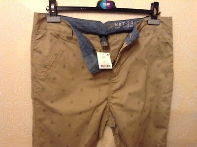BNWT ⭐️Next ⭐️Age 12 Boys Girls Skinny Beige Nude Chino Scull Print Trousers New
