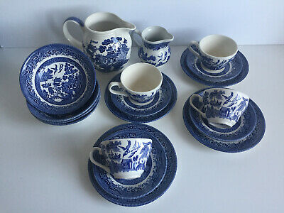 Churchill Blue Willow Tea Cups Saucers Plates Trio Milk & Water Jug Cereal Bowls