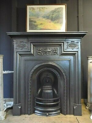 cast iron fireplace antique, edwardian, victorian, dated 1895
