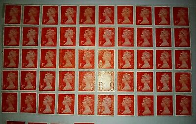50 x 1st Class Red Royal Mail Securyi Stamps First Unfranked off Paper some Gum