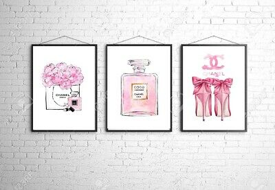 Coco Chanel A4 Wall Print Bedroom Dressing Room Home Poster Art Set Of 3 Gift 2