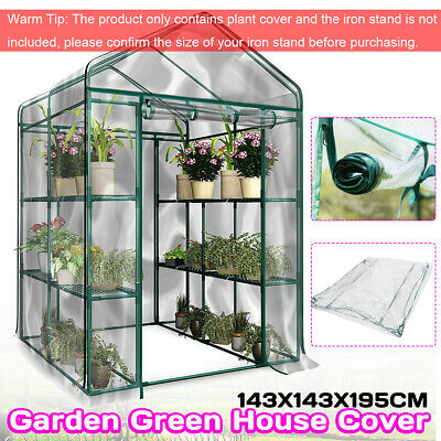 3-Tier Walk In Greenhouse Cover PVC Plastic Garden Grow Green House 8 Shelves