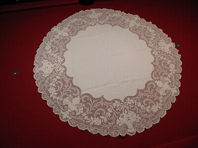 Vintage White Cotton and Flower Basket Accent Round Tablecloth