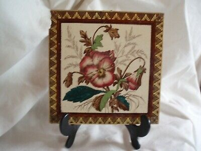 Good Antique Late 19Th C/Early 20Th C Square Glazed Tile W/Floral Deco.