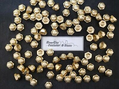 (6) 5/8-11 Brass Acorn / Dome / Cap Hex Nut 5/8 x 11 Nuts 5/8x11 Nut