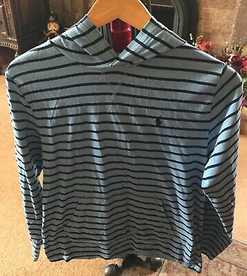 Polo Ralph Lauren Boys Blue Striped Hooded Top - Age 14-15