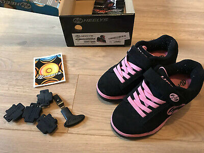 Girls black & pink Heelys size uk 13. In original box. Good Used Condition