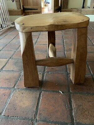 SALE Rustic Solid OAK STOOL.