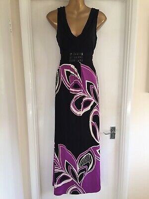 Stunning Monsoon Size 14 Black & Purple Maxi Evening Cocktail Party Dress VGC