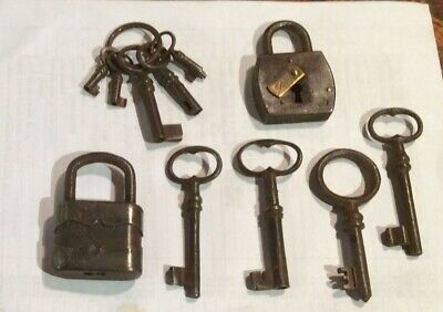 Antique French Iron Chateau Keys and 2 old iron locks