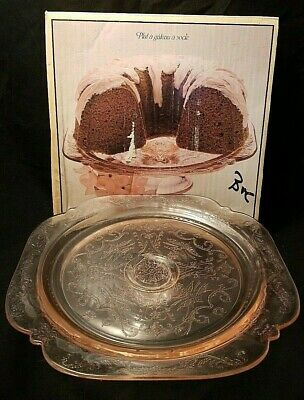 Vintage Pink Indiana Glass Pedestal Footed Cake Stand In Original Box