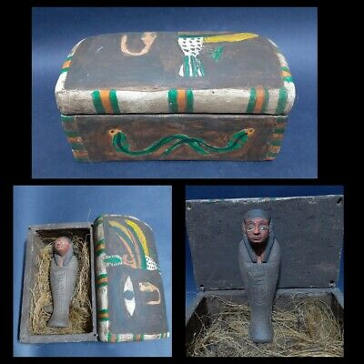 ANCIENT EGYPTIAN ANTIQUES Ushabti Wooden Box Gods Horus Wadjet Coffin 1792 BC