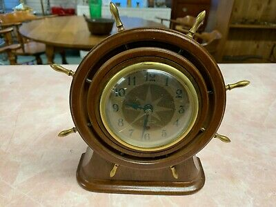 Vintage Seth Thomas Ship's Wheel Clock - Wood With Brass Accents - Nautical