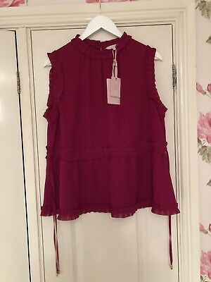 Ted Baker Frill Pink/purple Top Size 4 - Size 14 Brand New With Tags