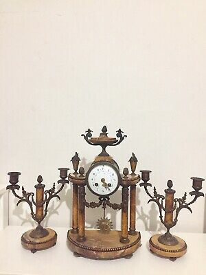 Antique Orange Marble French  4 Pillars Mantle Clock Set Garniture C1900