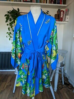 B by Ted BakerTropical  Floral Blue Wrap Kimono Robe Dressing Gown Size 12-14