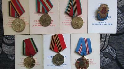 Lot USSR soviet russian and ukrainian medal badge with documents    c300