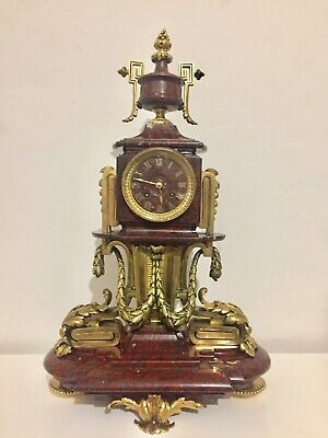 Antique Rare Massive Rouge Marble And Gilt Bronze Mantle Clock By Japy C1870