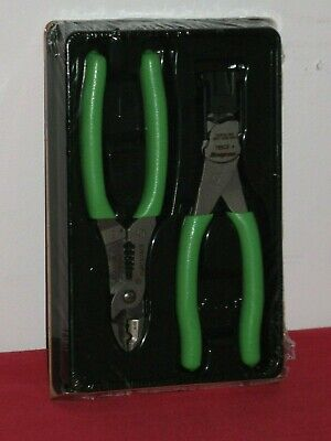 Snap On 2 Piece Flush Cut Stripper/Crimper Pliers Set Extreme Green Storage Tray