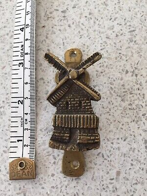 Vintage Brass Door Knocker Windmill Small Cast Brass Old