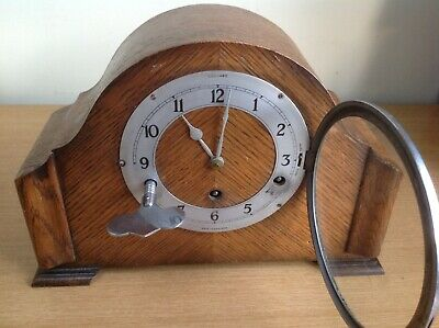 Antique Gerrard Wooden Mantle Clock Westminster Chimes