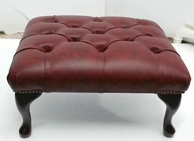 Chesterfield Deep Buttoned Queen Anne Footstool Oxblood Red Faux Leather