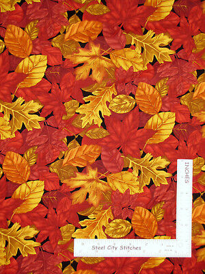 Autumn Leaves Fall Foliage Cotton Fabric Timeless Treasures C4979 By The Yard