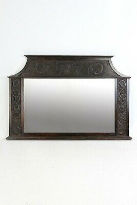 Antique Edwardian Arts & Crafts Oak Overmantle Mirror - Overmantel Hall Bathroom