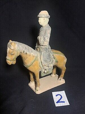 Ancient MING Dynasty, Antique Chinese Painted Pottery Horse and Rider AUTHENTIC