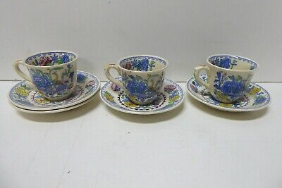Antique Masons Pottery Coffee Demitasse Regency Pattern  3 Cups 4 Saucers