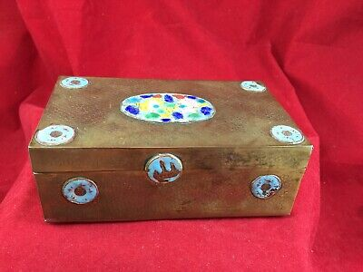 """Vintage Antique Chinese Enamel Hand Painted Brass Trinket Box 6"""" x 3.5"""" x 2.25"""""""