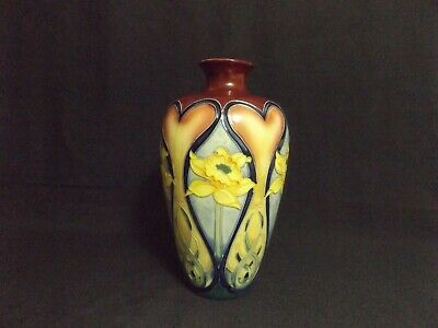 Old Tupton Daffodil And Hearts, Hand Painted Ceramic Vase